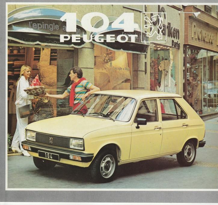 Prospekt Peugeot 104 Übersicht 1982