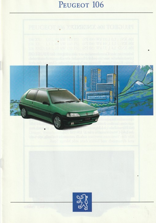Prospekt Peugeot 106 Modellübersicht 1992