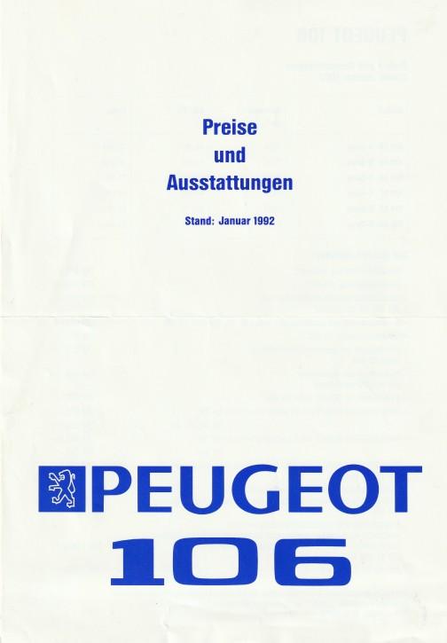 Prospekt Peugeot 106 Preisliste 1992