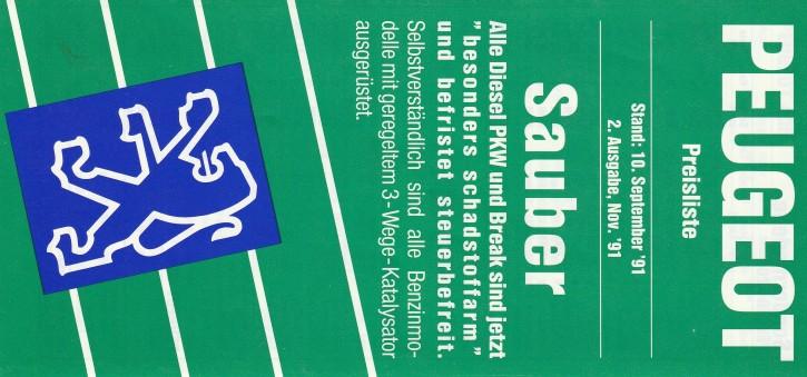Preisliste November 1991