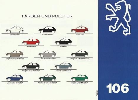 Prospekt Peugeot 106 Farben und Polster